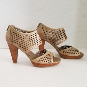 Franco Sarto Perforated Sandals - Tan Size 7.5